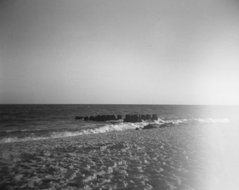 Ocean Beach in Fire Island NY, Holga, Lomography, fine art black and white photography print; 5x5, 8x10, 11x14 inches