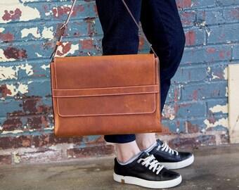 Leather MacBook Case, Leather MacBook Sleeve, Horween Leather Macbook Case, Laptop Holder, Apple MacBook Pro Case, Laptop Bag