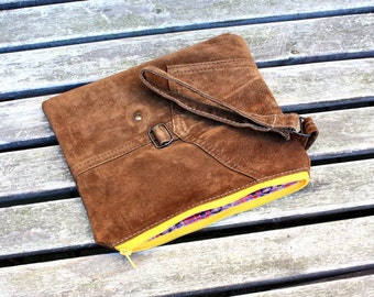 UPCYCLED Suede Clutch, Recycled Leather Clutch, Leather Bag, Leather Clutch, Pouch, Tassel