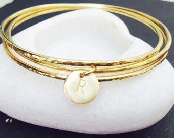 Bangle Set Handmade Jewellery Hammered Brass Personalised Charm Bracelet