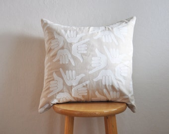 pillow cover // shaka // 20 inch square // handprinted // white