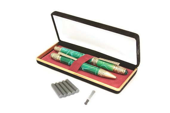 Matching Emerald Green Fountain Pen and Ballpoint Pen with Celtic Knot Motifs