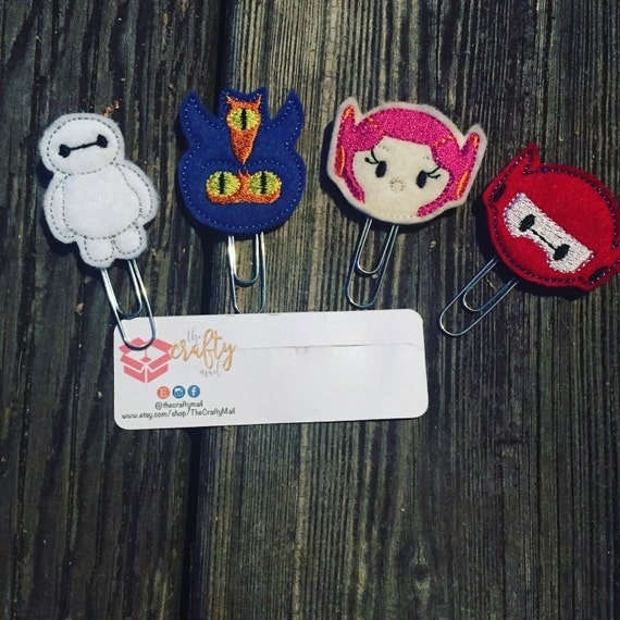 Big Hero 6 Planner Clip/Paper Clip/Feltie Clip. Purchase one or a complete set! Baymax planner clip