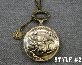 Rabbit Pocket Watch -Chinese Zodiac Pocket Watch -Animal Pocket Watch Necklace -Mens Hollow Out Pocket Watch 46mm