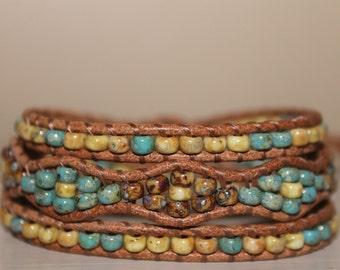 Bracelet wrap beaded leather bohemian wrap gypsy bracelet wrap bracelet trendy jewelry gift for her boho jewelry leather bracelet beads wrap