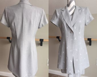 Grey Suit Dress Set with Flower Detail