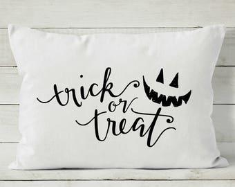 Halloween Pillow - Halloween Decor - Trick or Treat - Decorative Throw Pillow Cover