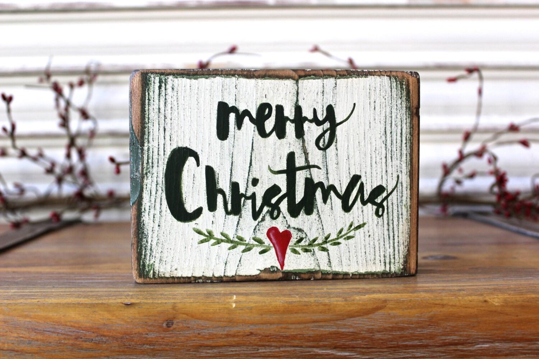 Christmas Wood Sign Merry Christmas Wood Block Christmas