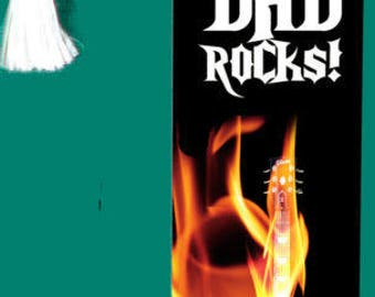 Cool Father's Day Gift - DAD ROCKS! Flames & Guitar Metal BOOKMARK