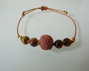 Bracelet beads 'Trust', lava stone, Tiger eye, diffuser oils, Meditation, aromatherapy, Lithotherapy
