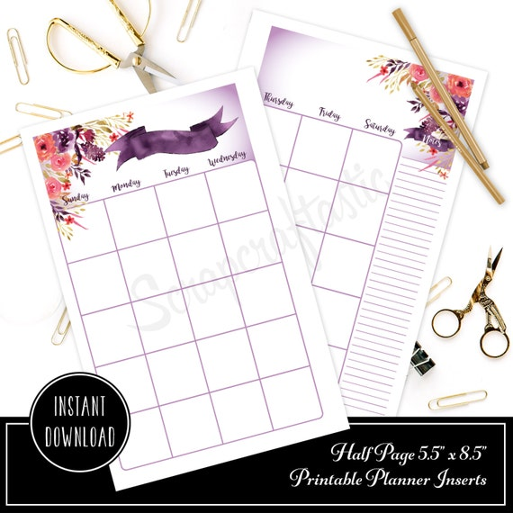 Royalty Undated Month on Two Page (MO2P) HALF PAGE/A5 Designed Printable Planner Inserts and Designed Printable Cover