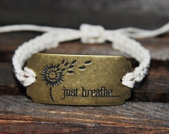 Adjustable Quote 'Just Breathe' Hemp Connector Bracelet