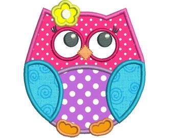 Owl Applique Machine Embroidery Design, Cute Baby Owl Machine Embroidery, Bird Applique, 4x4, 5x7, 6x10, INSTANT DOWNLOAD,  No: SA544-3