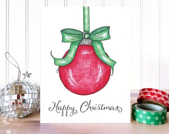CHRISTMAS CARD: Happy Christmas Bulb Card. Whimsical Holiday Card. Happy Holidays Card. Folded Greeting Card. Hand Drawn Christmas Card