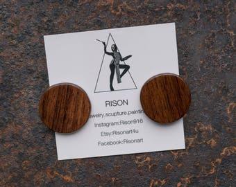 small wood circle earrings, circle stud earrings, boho earrings, everyday earrings, circle studs, natural wood, everyday earrings
