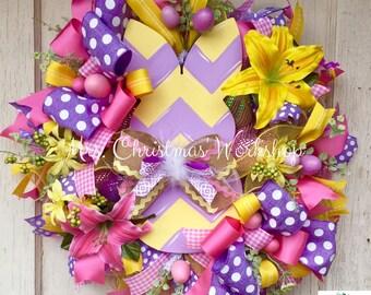 Easter wreath,deco mesh wreath, Burlap wreath, Easter Deco mesh wreath, Easter bunny wreath, with bunny ears