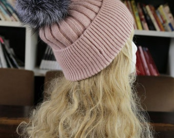 KNITTING PATTERN,  Real Fur Pom Pom Hat -knitting hat Knitting Hat Pattern, Hat Pattern, Womens Hat Pattern, Knit Pattern Hat, Hat