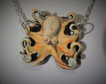 octopus cthulhu brights necklace woodcut lasercut yellow
