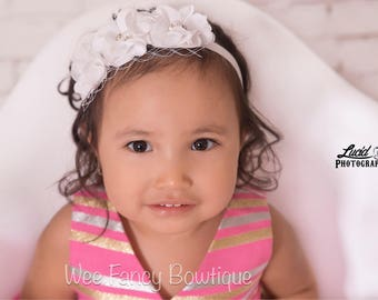 Baptism headband | christening headband | white baby headband | newborn photo prop | flower girl headband | baby girl gift | flower headband