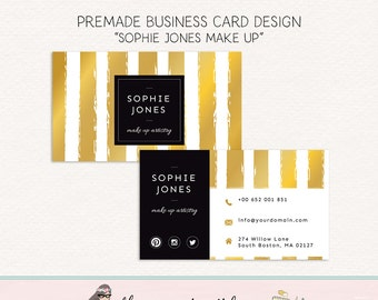 make up business card gold foil business card wedding planner card social card calling card thank you card appointment card mommy card