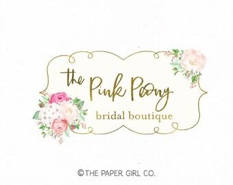 peony logo flower logo florist logo bridal logo boutique logo premade logo photography logo wedding planner logo event planner logo