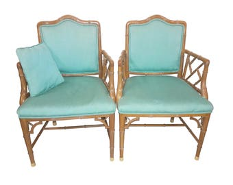 Pair Chinese Chippendale Regency Faux Bamboo Turqoise Armchairs Hollywood Regency Bamboo Chinoiserie Chairs Aqua Upholstered Chairs