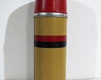 Vintage Glass and Metal Thermos Vacuum Bottle from Norwich, CT- FREE SHIPPING!!!