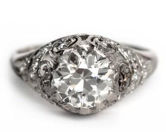 Circa 1910 - Platinum Edwardian GIA Certified 2.01ct Old European Cut Diamond Engagement Ring with Immaculate Filigree - VEG#450