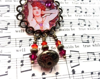 Art Nouveau, Mucha Inspired Precious Stones Series inspired Brooches, Amethyst, Mucha Brooch, Mucha Pin, Mucha Jewelry, Mucha Jewellery