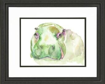 Hippo Watercolor Painting - art print