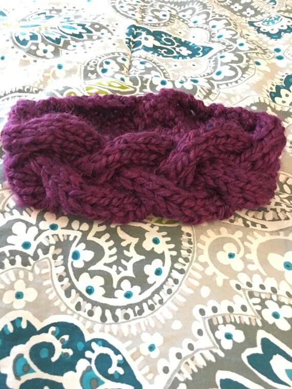 Cabled knit headband, braided knit headband, knit earwarmer, maroon knit ear warmer, womens earwarmer, witner headband