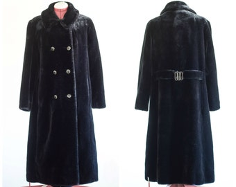 Black double breasted deep pile Borgessa overcoat