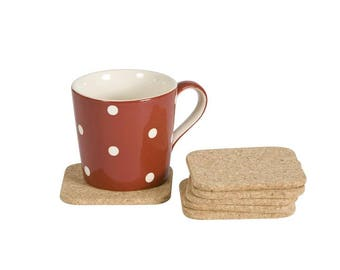 Natural Cork Coasters. Set of 6 Coasters.  Coffee mats.- 1922