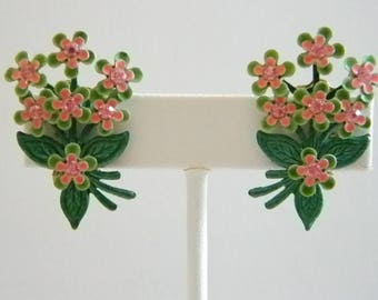 Summer Enamel Green Pink Floral Clip Earrings