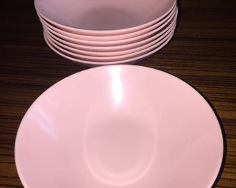 Vintage pink melamine soup, salad or ice cream bowls; set of 8