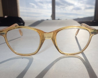 Willson Browline Eyeglasses Safety Glasses Glass Lens non-Rx Amber Frame USA