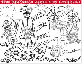 Pirate Digital Stamps,Digital Stamps,Pirate Stamps,Pirate Clipart,Clipart,Pirate Ship Stamps,Pirate Ship Clipart,Commercial