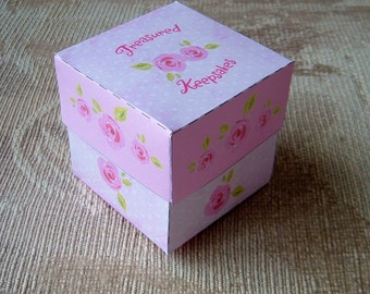 Treasured Keepsakes Gift Box Template Pink Roses Pattern PDF Instant Download