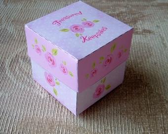DIY Gift Box Template Treasured Keepsakes Pink Roses Pattern PDF Instant Download Paper Craft
