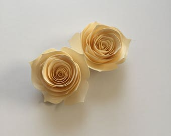 Ivory Rose Cupcake Toppers // Paper Flower Cupcake Toppers // Paper Flowers