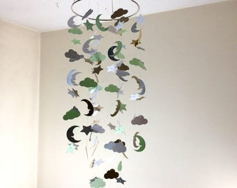 Mint. gold, silver and White clouds, moon and stars mobile. Baby Nursery mobile, Modern crib mobile, nursery mobile, Choose your colors
