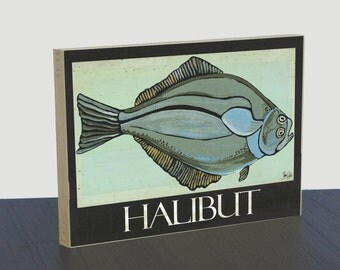 Halibut art panel for fisherman. Halibut fish print. Halibut art poster. Fishing print. Fisherman art. Fish painting. Fisherman wall decor.
