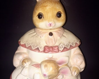 Vintage Mama Bunny Holding Baby Bunny Cookie Jar with Beautiful Glass Eyes made in Japan