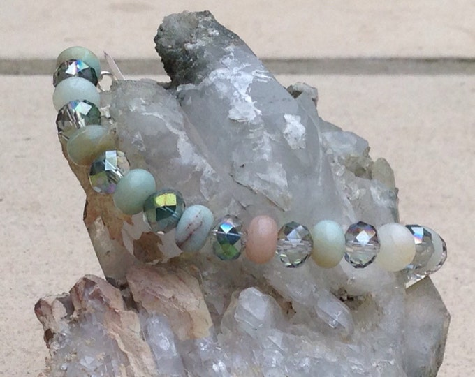 Amazonite jewellery set, Amazonite necklace, Amazonite earrings, Amazonite bracelet, Swarovski & Amazonite, silver Amazonite jewellery,