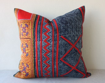 "20"" x 20"" Vintage Ethnic Hmong Hill Tribe Hand Woven Indigo Batik Hemp, Cross Stitch Pillowcase /17.25"