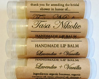 Personalized Shower Lip Balm | Organic Lip Balm | Bridal Shower | Baby Shower | Favors | Organic Favors | Rustic Bridal Shower Favors