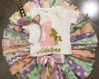 unicorn pink gold lavender and mint fabric tutu  birthday photo outfit (3pc set) and pink unicorn  headband, quick shipping