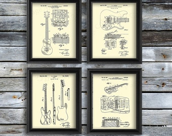 Vintage Fender Guitar Patent Art Prints set of 4 art prints in cream color, boyfriend gift, guitarist gift, Musician decor, Guitar wall art