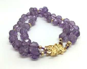 Vintage French Amethyst Purple Beaded Double Bracelet with 14k Gold Beads and gold plated clasp.
