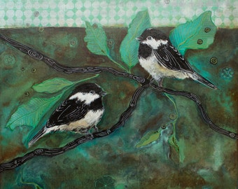 The Duo - original, acrylic,chickadee, painting, pen and ink detail, wood panel